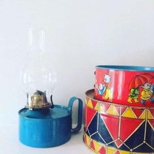 Gorgeous blue vintage oil lamp