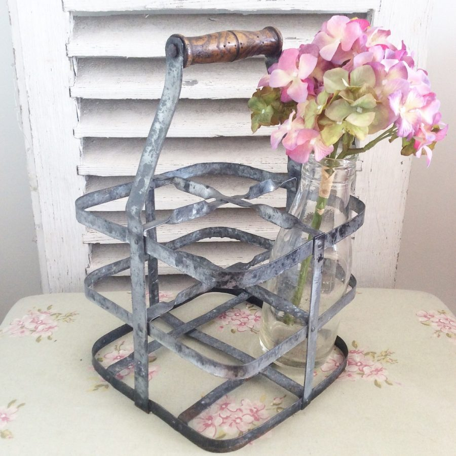 Stunning vintage French metal milk crate
