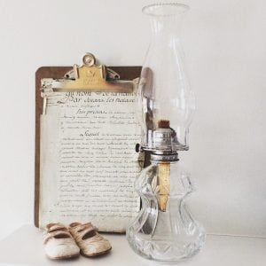 Wonderful large clear glass ?vintage? oil lamp