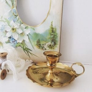 Darling little vintage brass candlestick holder