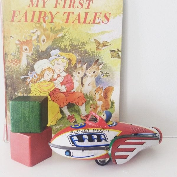 Adorable 1950's tinplate friction drive rocket