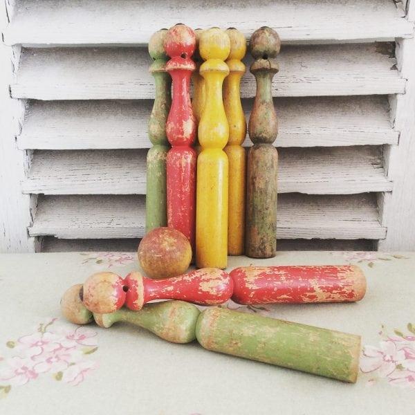 Divine set of french vintage wooden skittles