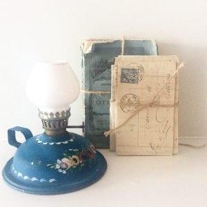 Sweet vintage hand painted oil lamp