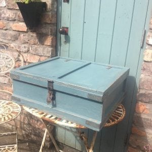 Charming little painted vintage storage trunk