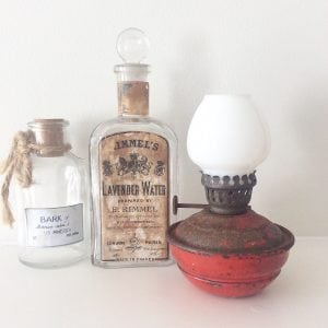 Delightful red vintage oil lamp