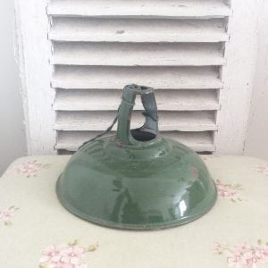 Beautiful old industrial enamel light shade