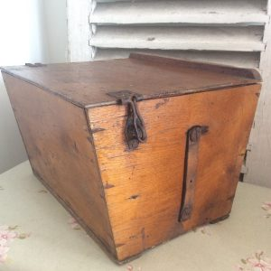 Wonderful old wooden storage box with lid