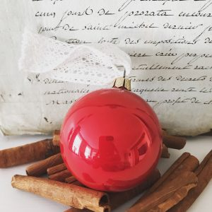 Traditional red vintage Christmas glass bauble