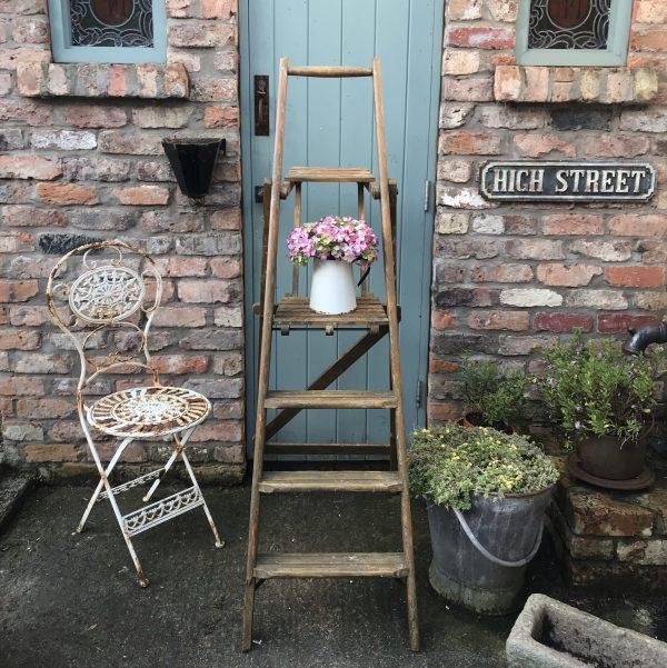 Lovely set of unusual large vintage stepladders