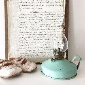 Loveliest little blue vintage oil lamp