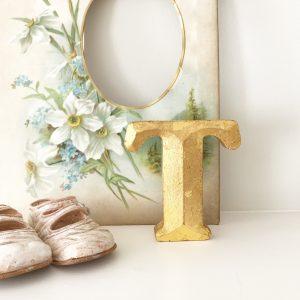 Lovely little reclaimed gold shop letter (T - 10cm)