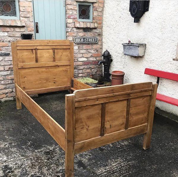Wonderful antique wooden single bed