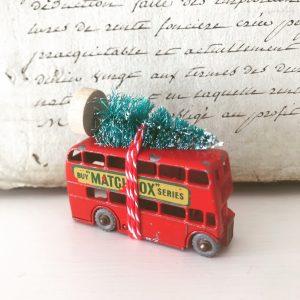 Miniature vintage toy London bus