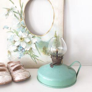 Loveliest little green vintage oil lamp