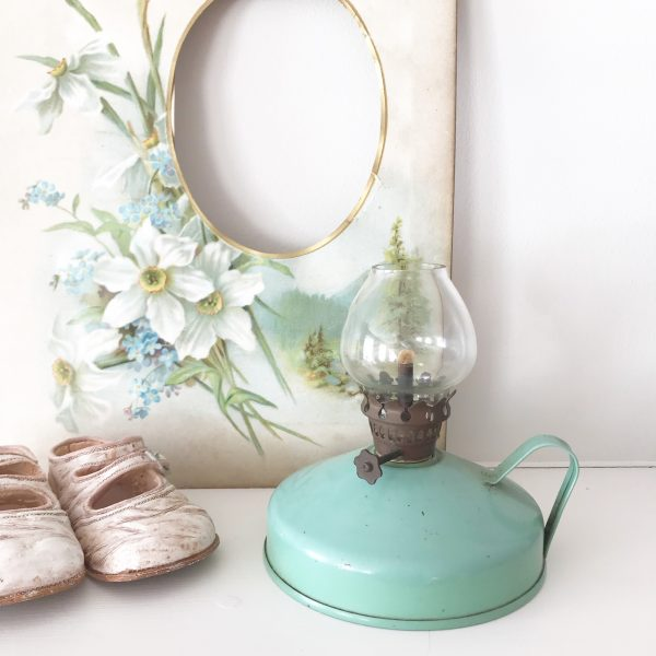 Loveliest little green vintage oil lamp