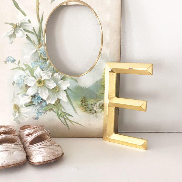 Lovely reclaimed gold shop letter - E (13cm)