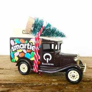 Vintage Smarties van with bottle brush