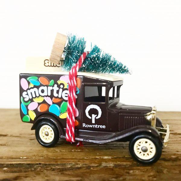 Vintage Smarties van with bottle brush