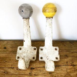 Delightful vintage industrial wall hooks x 2
