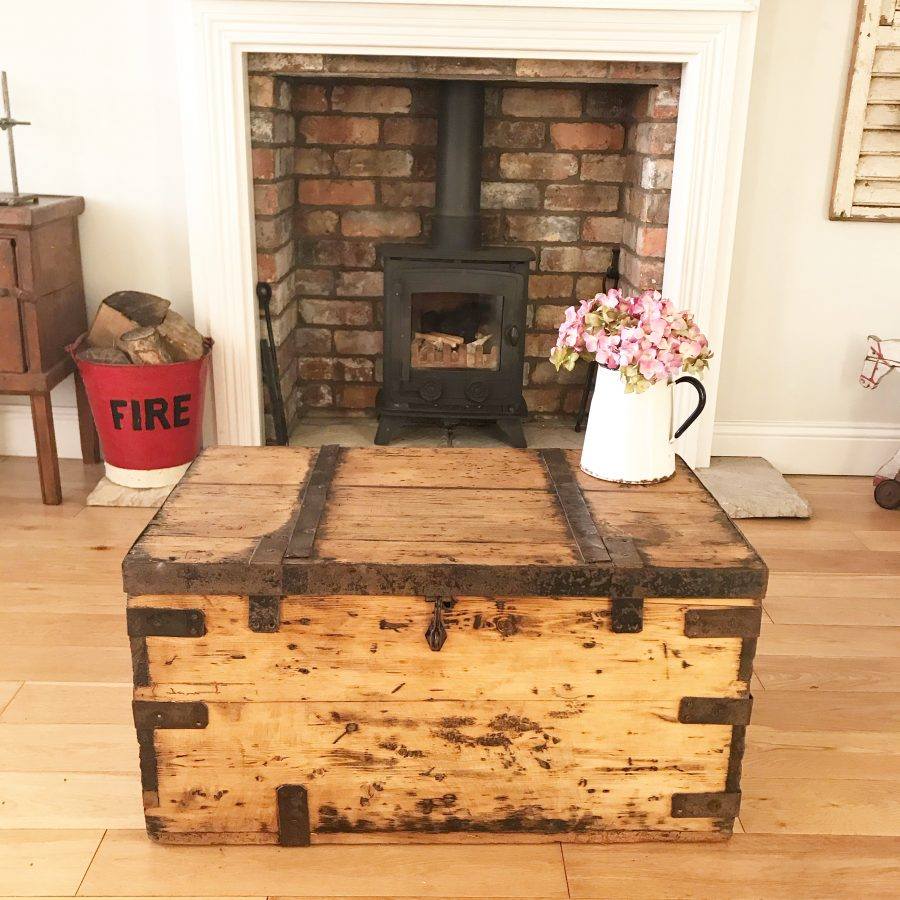 Beautiful old rustic wooden trunk