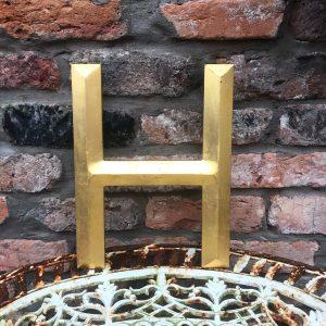 Large gold reclaimed pub letter (H - 33cm)