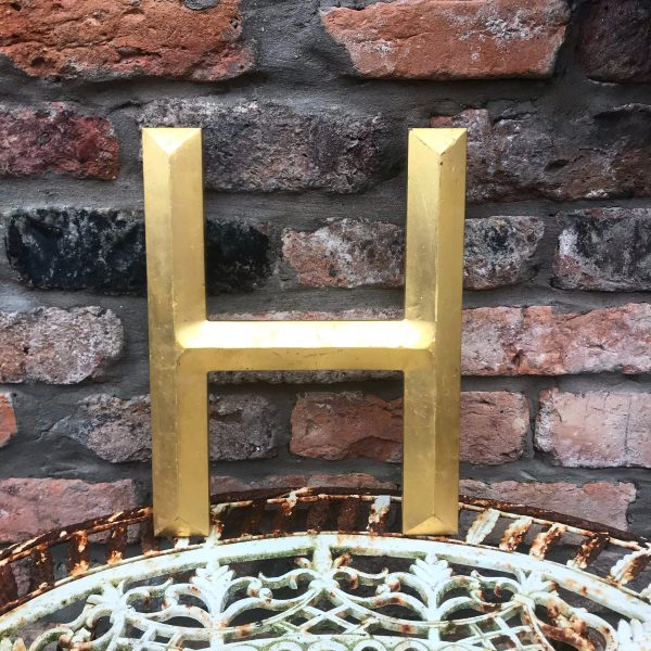 Large gold reclaimed pub letter (H - 33cm)
