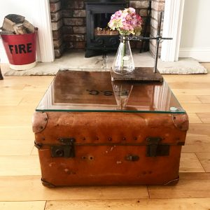 Beautifully worn old leather travel trunk