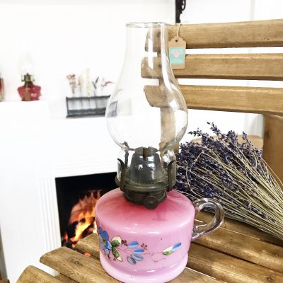 Stunning hand painted pink antique oil lamp