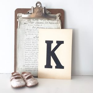 Lovely vintage flash card - K (sold individually)