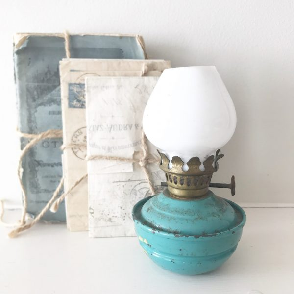 Gorgeous turquoise blue vintage nursery oil lamp