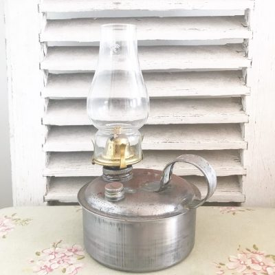 Gorgeous large vintage metal oil lamp