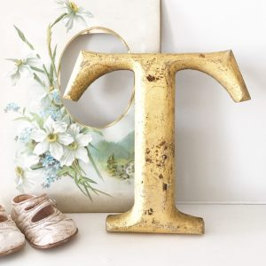Wonderful gold reclaimed pub letter T (20cm)