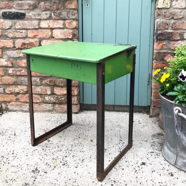 Rustic little vintage green school desk