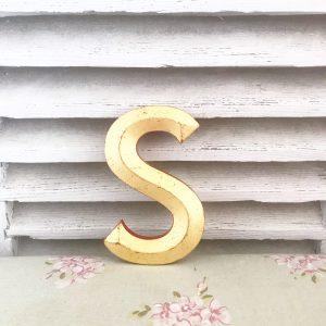 Lovely little reclaimed gold letter S (16cm)