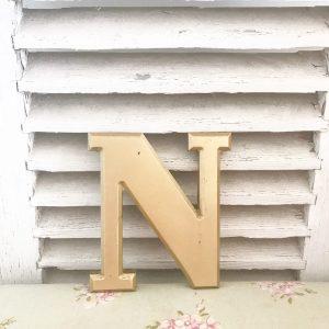 Beautiful little reclaimed gold letter N (19cm)