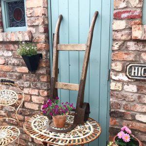 Wonderful old wooden sack cart