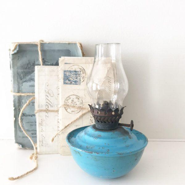 Beautiful little blue vintage nursery oil lamp