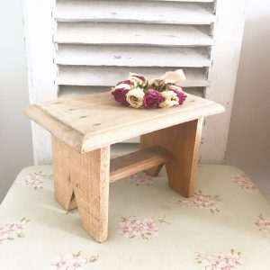Cute little handmade vintage wooden stool