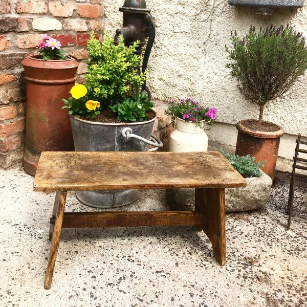 Stunning large vintage Hungarian milking stool/bench (70cm long)