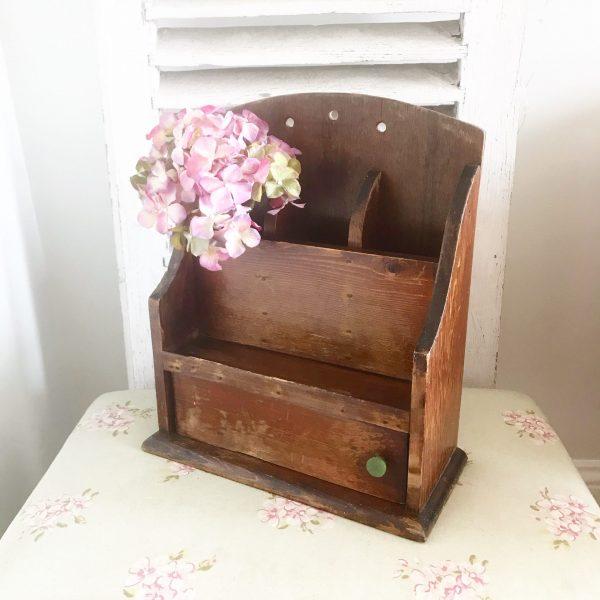 Lovely unusual vintage wooden shoe shine box