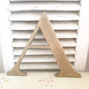 Large gold reclaimed wooden shop letter A (34cm)