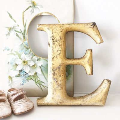 Wonderful gold reclaimed pub letter E (20cm)