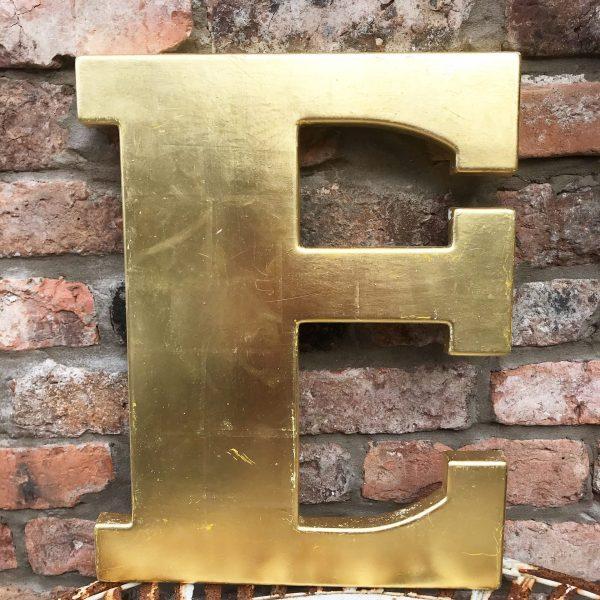 Lovely large reclaimed gold shop letter E (45cm)