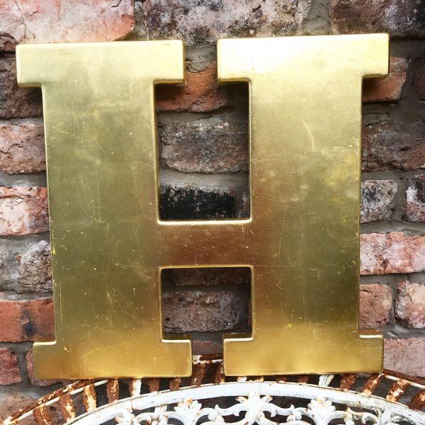 Lovely large reclaimed gold shop letter H (45cm)
