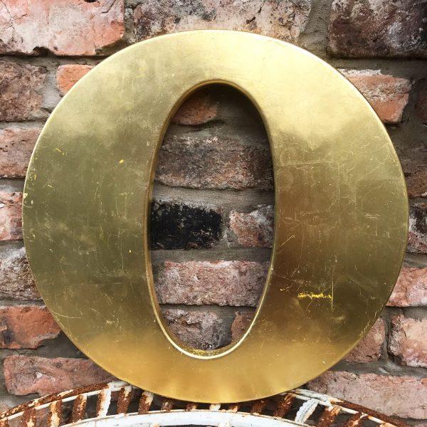 Lovely large reclaimed gold shop letter O (45cm)