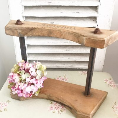 Reclaimed rustic wooden barrel holder shelf