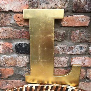 Lovely large reclaimed gold shop letter L (45cm)