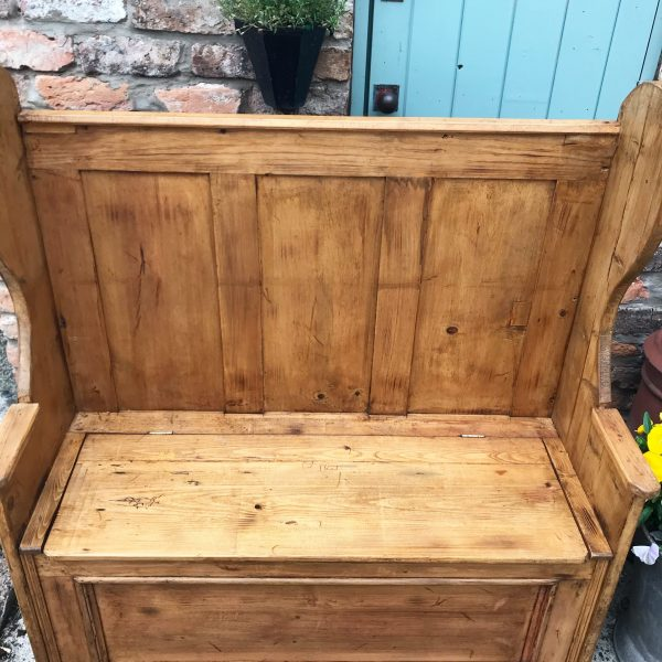 Wonderful reclaimed solid pine settle with storage