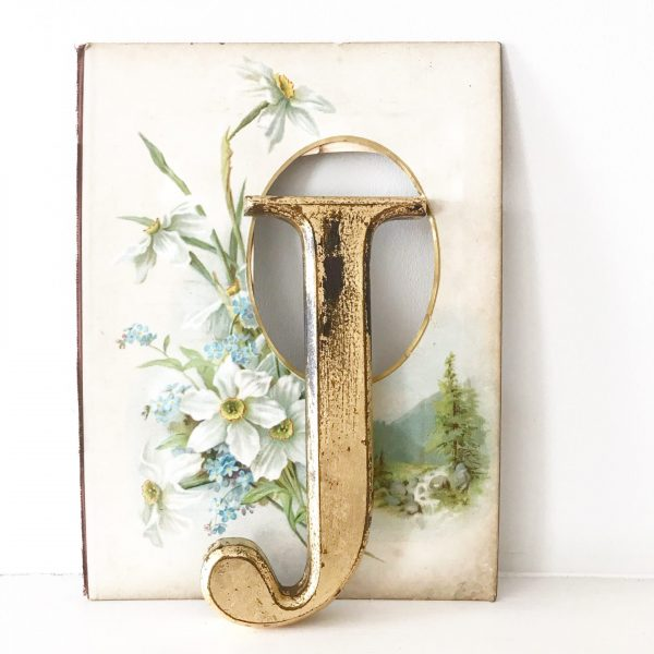 Beautifully distressed gold wooden letter J (20cm)
