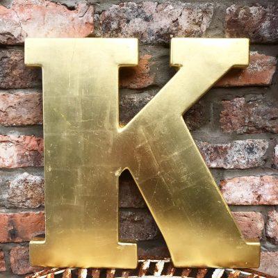 Lovely large reclaimed gold shop letter K (45cm)